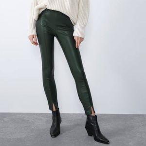 Zara Faux Leather Green Leggings